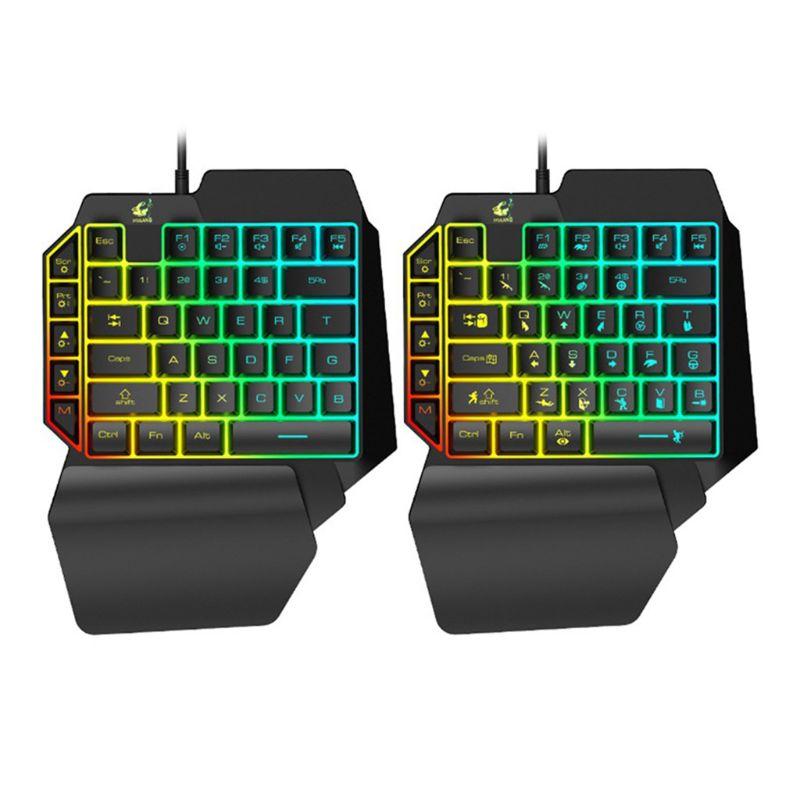 K15 One-handed Membrane Gaming Keyboard 35 Keys Backlit Single Hand Game Keypad