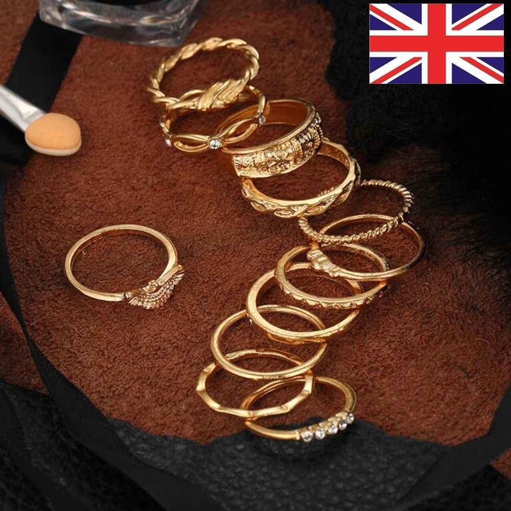 12 pçs/set Boêmio Partido Geométrica Set Conjunto Anel Da Junta de Ouro Do Vintage para Mulheres de Jóias Anéis de Moda Polegar Pilha Midi