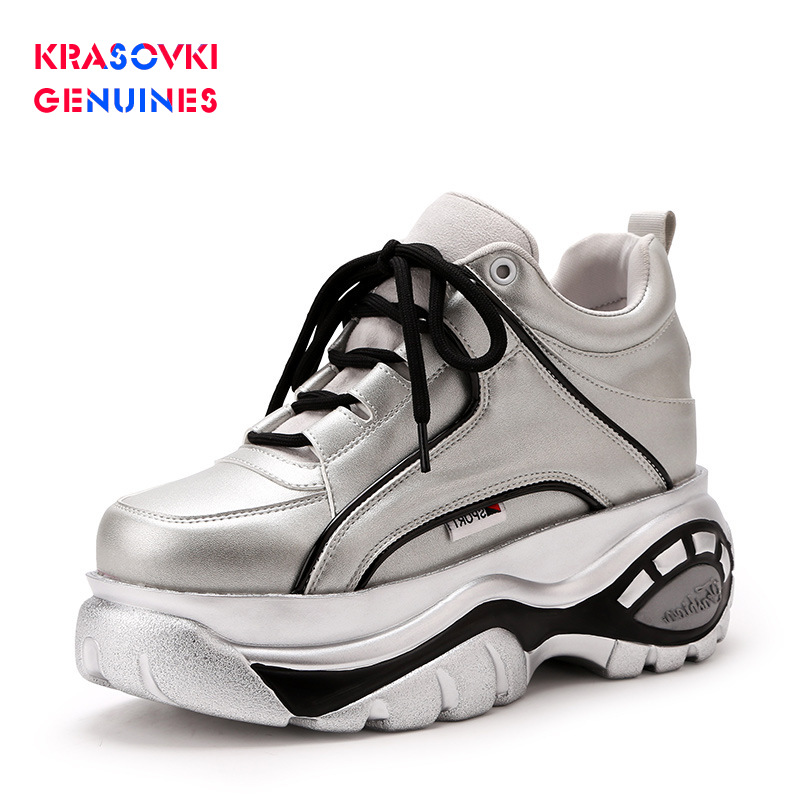 Krasovki Genuines Sneakers Women Autumn Winter Dropshipping Fashion Thick Bottom Breathable Lace Muffin Bottom Women Shoes