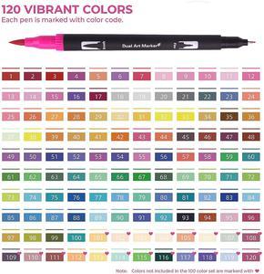 Набор художественных ручек 12-120 цветов, тонкий наконечник и гибкий наконечник кистей, маркеры на водной основе для каллиграфии для взрослых