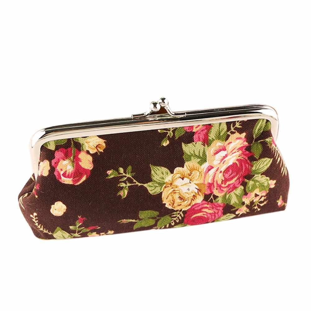 Kobiety w stylu Vintage kwiat mały portfel pani Retro Hasp Cion torebka długa kopertówka kobieta zakupy telefon gotówka torebki posiadacz karty