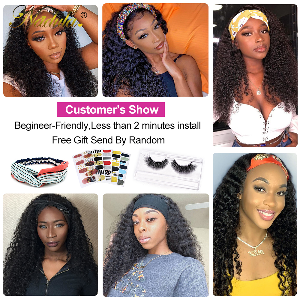 Nadula Curly Hair Headband Wigs  Curly Hair Wig  Hair Natural Wig for Women Glueless Easy to Style & Wear Wig 6
