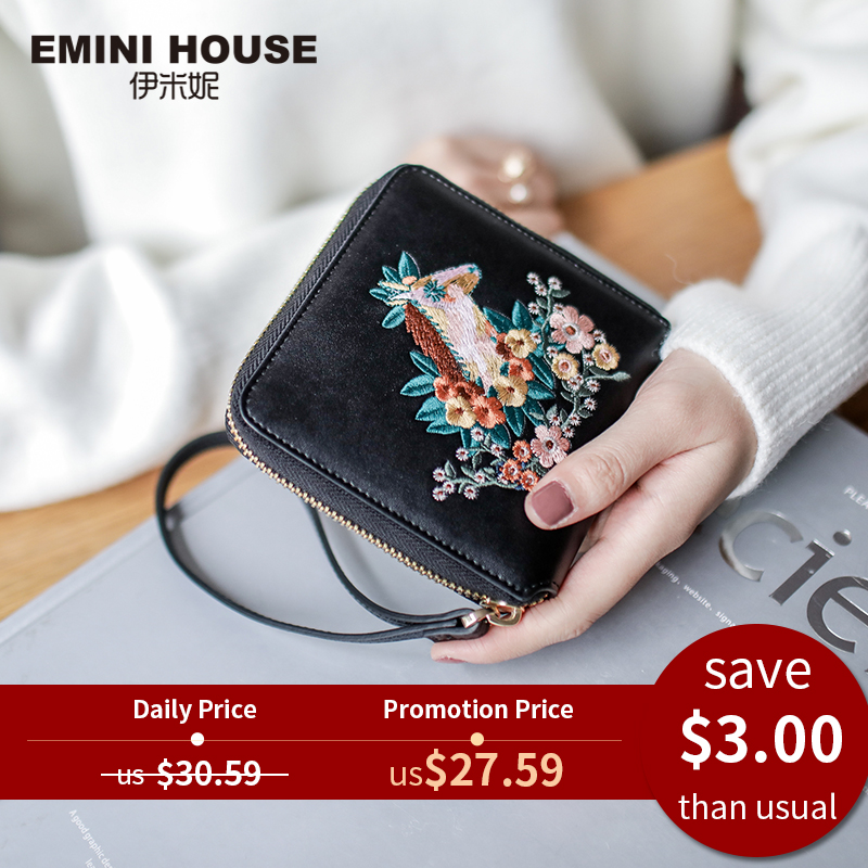 Embroidery Wallet Designer Purse Emini House Women Luxury Brand Female for Credit-Cards