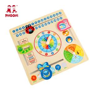 Image 5 - Wooden Calendar Toy Multifunction 6 in 1 Hanging Kids Clock Date Weather Chart Early Educational Learning Toy