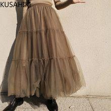 Kusahiki 2021 primavera verão saia feminina coreano malha moda elegante saias causal cintura alta inferior mujer fadas 6f632