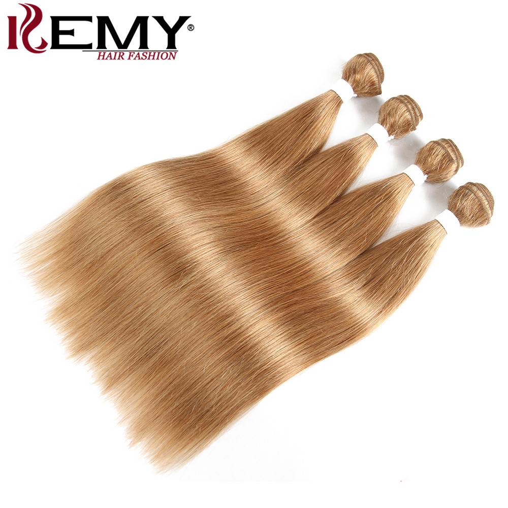 Light Brown Hair Bundles 27# KEMY HAIR Pre-Colored Brazilian Straight Human Hair Weave Bundles Non-Remy Hair  Extension 2/3/4PCS