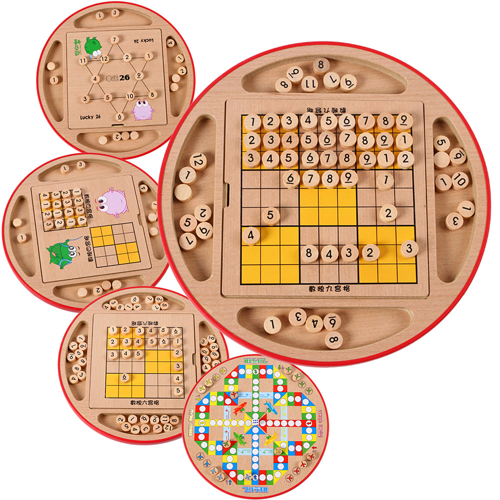 Wooden Five In One Multi-functional Sudoku Game Checkerboard Children'S Educational Sudoku Desktop Interactive Game Toy