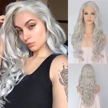 BeautyTown perruque Lace Front wig synthétique avec attache à la main, couleur gris blanc argent, Style ondulé Camgirl, maquillage quotidien pour femmes, fête