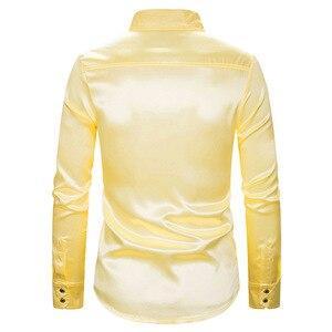 Image 3 - Vàng Sequin Lấp Lánh Áo Sơ Mi Nam 2019 Mới Thời Trang Câu Lạc Bộ Đêm Lụa Satin Camisa Masculina Mỏng Phù Hợp Với Sân Khấu Vũ Trường Ca Sĩ Chemise homme