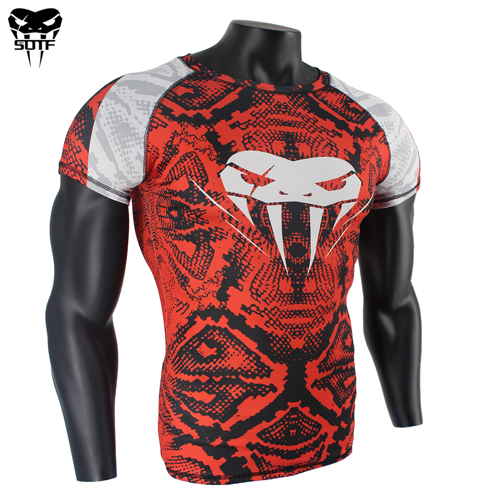 SOTF Snake Scale Short Sleeve Fitness MMA Boxing Jerseys Tiger Muay Thai Rashguard Jiu Jitsu King Boxing T Shirt Mma Compression