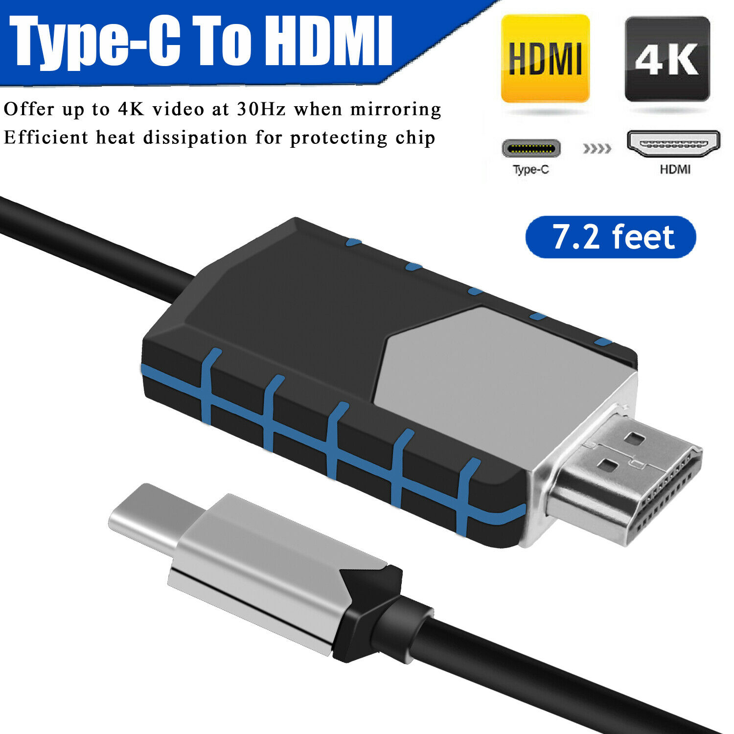 USB-C Type-C To <font><b>HDMI</b></font> <font><b>4K</b></font> 30Hz HDTV Adapter <font><b>Cable</b></font> For Huawei Samsung S10 S9 Note 9 Macbook <font><b>2.2</b></font> M 7.2ft image