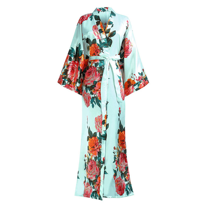 Large Size 3XL 4XL 5XL 6XL Bathrobe For Female Satin Long Sleepwear Nightgown V-neck Kimono Bathrobe Gown Print Flower Negligee