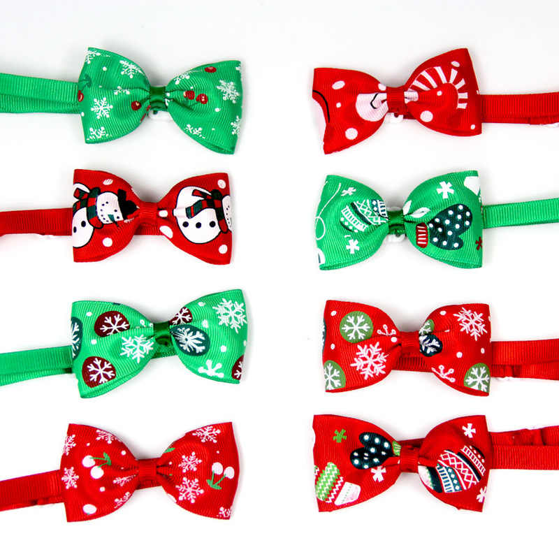 Lovely Cat Dog Collar Bow Tie Christmas Adjustable Neck Strap Dog Grooming Accessories Xmas Pets Products Cat Supplies