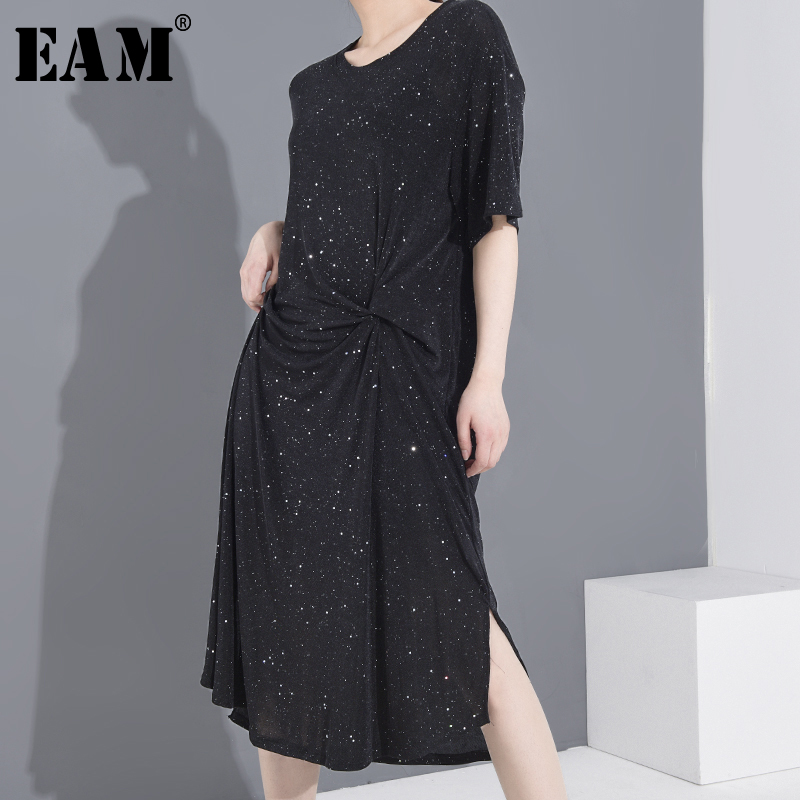 [EAM] Women Black Knot Spit Big Size Long Dress New Round Neck Short Sleeve Loose Fit Fashion Tide Spring Summer 2020 1S06101