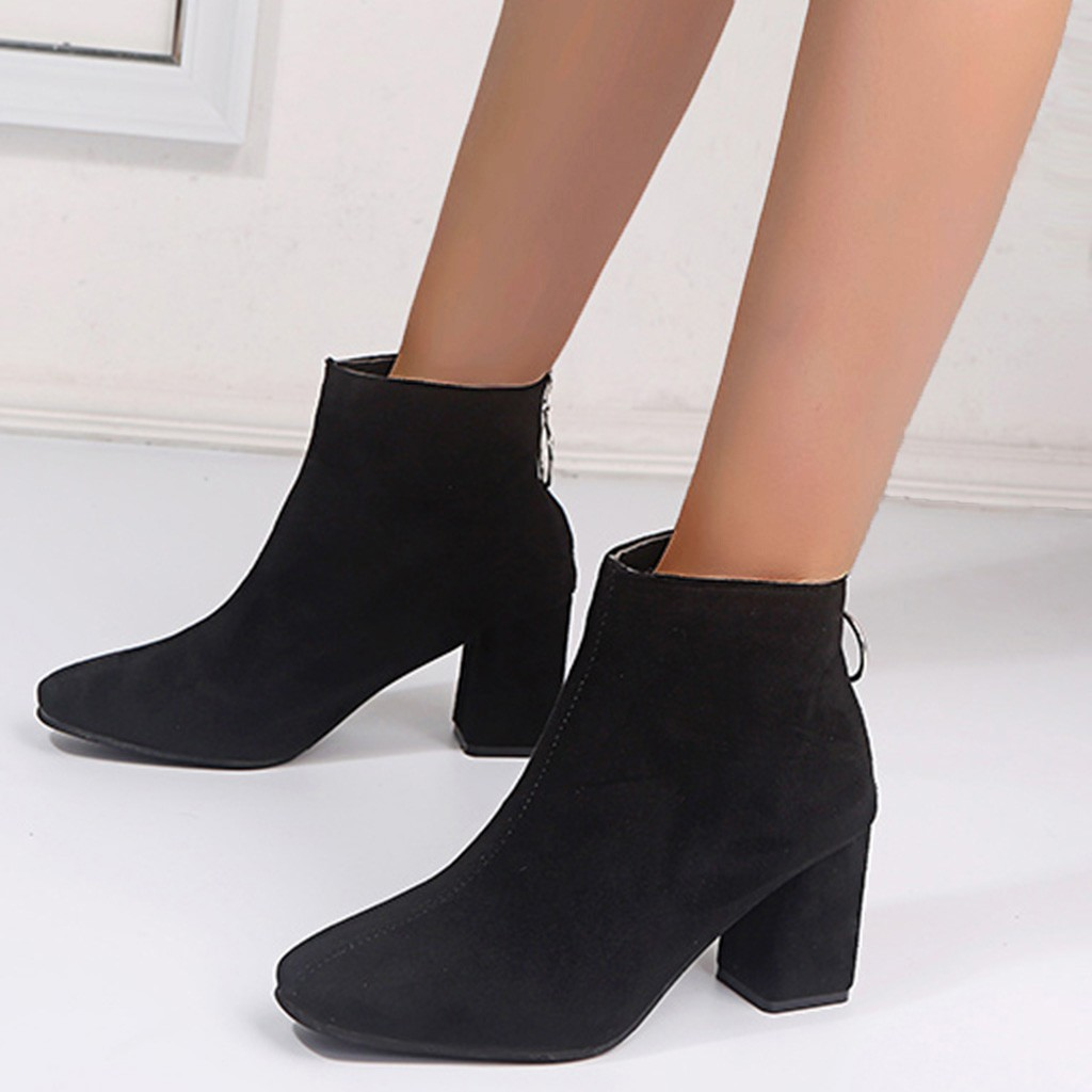 Womens Ankle Boots Pointed Toe Side Zip Shoes Stilettos High Heels Suede Warm G4