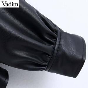 Image 5 - Vadim frauen stilvolle PU leder blusen langarm drehen unten kragen shirts weibliche büro tragen grundlegende tops blusas LB722