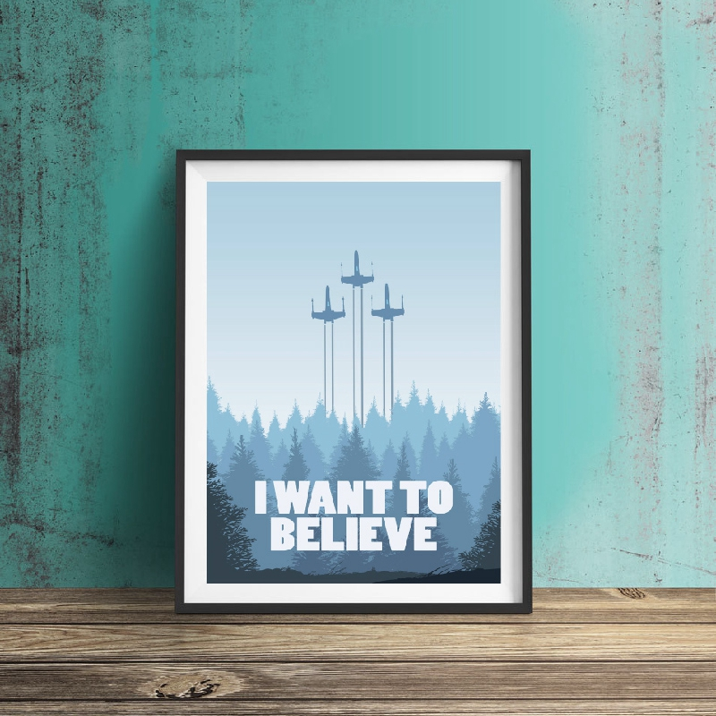 Star Wars Movie Poster Prints Boys Gift I WANT TO BELIEVE Quote Art Canvas Painting Prints Picture Kids Room Home Wall Art Decor image