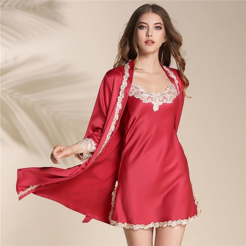 Ladies' Pajamas Set summer spring autumn straps sleeping dress silk long sleeve sexy pajamas women's homewear two piece set