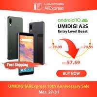 "UMIDIGI A3S Android 10 Global banda 3950mAh cámara trasera dual 5,7 ""Smartphone 13MP Selfie Triple Slots Dual 4G VoLTE Celular"