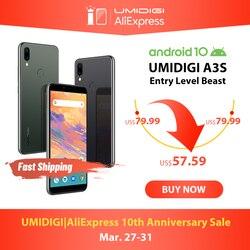 UMIDIGI A3S Android 10 Globale Band 3950mAh Dual Posteriore Della Macchina Fotografica 5.7 Smartphone 13MP Selfie Triple Slot Dual 4G VoLTE Celular