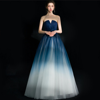 2019 New Gradient Color Tulle Long Evening Dresses Pleated prom gowns Formal Party Pageant dress Elegant Luxury robe longue