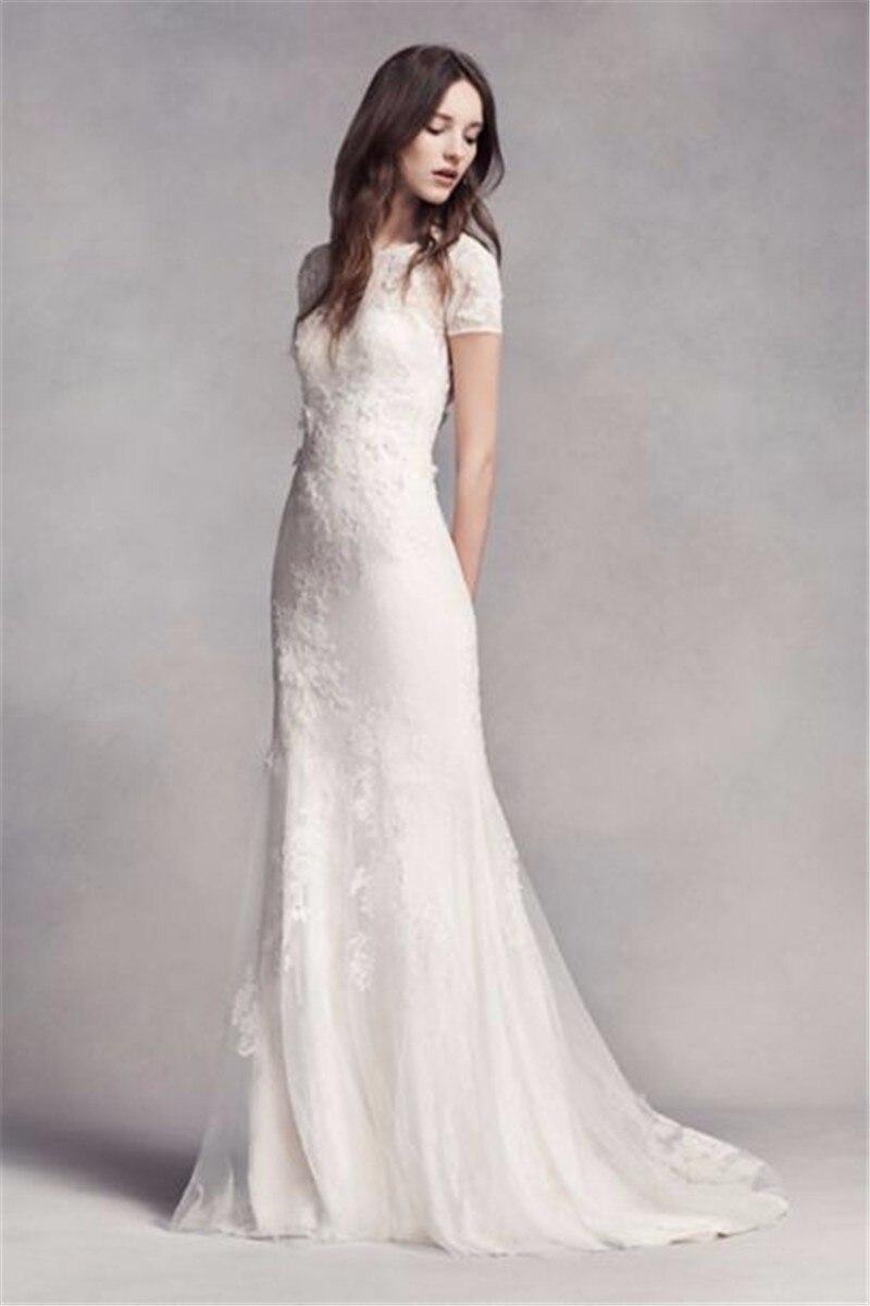 Short Sleeve Lace High Neck Vestido De Noiva Lace Floral Applique Mermaid Bridal Gown 2018 Brides Mother Of The Bride Dresses