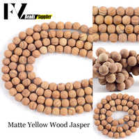 Natural Dull Polished Matte Wood Jaspers Stone Round Loose Beads 4mm-12mm Beads For Jewelry Making DIY Bracelet Accessories 15
