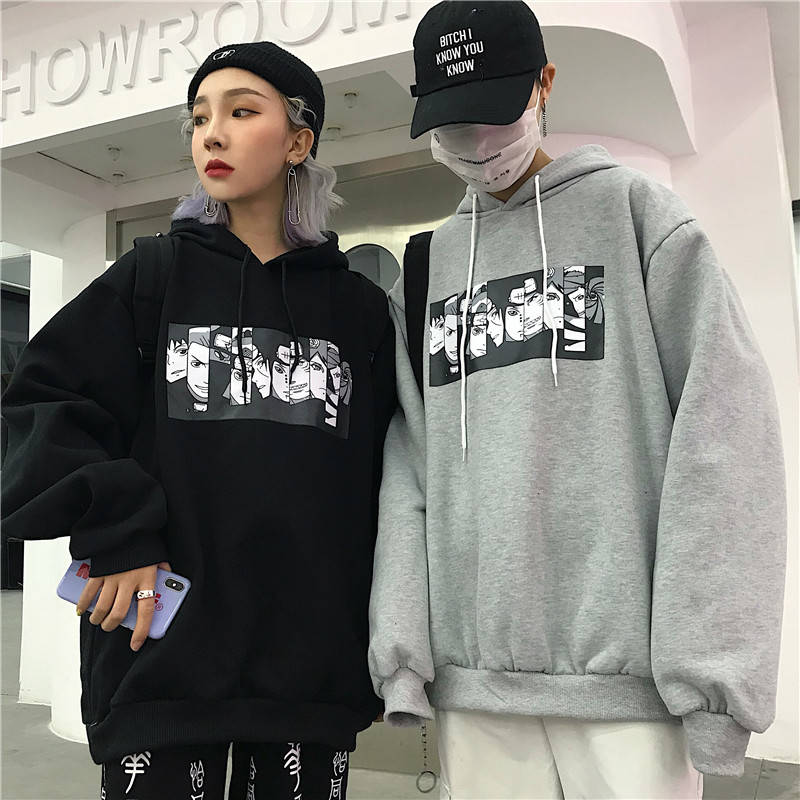 Autumn Winter 2019 Naruto Print Mens Hoodies Oversized Japanese Anime Sweatshirt Casual Harajuku Hip Hop Couple Black Streetwear