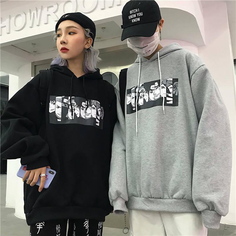 Autumn Winter 2019 Naruto Print Mens Hoodies Oversized Japanese Anime Sweatshirt Casual Harajuku Hip Hop Couple Black Streetwear