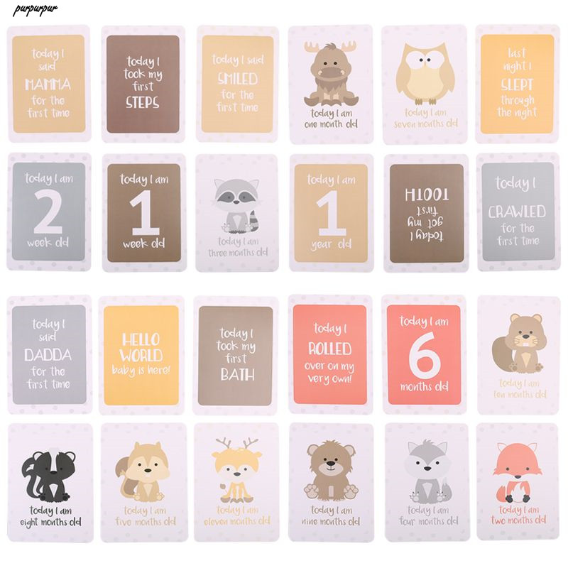 24Pcs/Set For Memory Baby Pregnant Women Monthly Photograph Cards Fun Month Milestone Cards Skill Cards Baby Growing Records