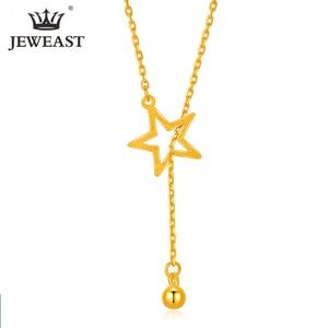 Image 1 - Btss 24 k puro ouro colar real au 999 corrente de ouro sólido bonito luxo na moda clássico festa jóias finas venda quente novo 2020