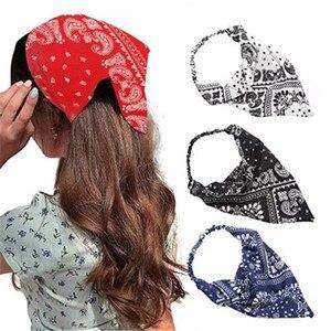 2020 böhmischen Polka Dot Floral Gedruckt Band Bogen Haarband Frauen Elastische Haar Band Pferdeschwanz Schal Haar Krawatten Zubehör