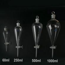 1 قطعة 60/125/250/500/1000/2000 مللي على شكل كمثرى/pyriform فصل قمع مخروطي مع الزجاج الأرض في سدادة مختبر الأواني الزجاجية