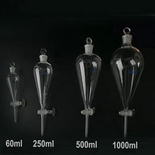 1 PC 60/125/250/500/1000/2000ml Pear shaped/pyriform Separating Conical Funnel With Glass Ground in Stopper Lab Glassware