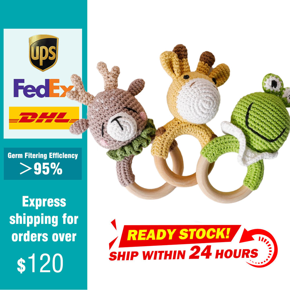 1pc Baby Teether Natural Teething Grasping Toys Mobile Pram Crib Ring DIY Crochet Rattle Soother Nursing Pacfier Chain For Baby