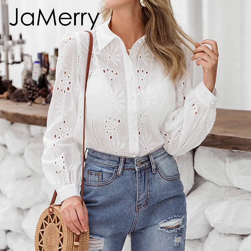 JaMerry Flower White Embroidery Cotton Blouse Women Long Sleeve Button Hollow Out Female Top Shirt Elegant Office Ladies Blouses