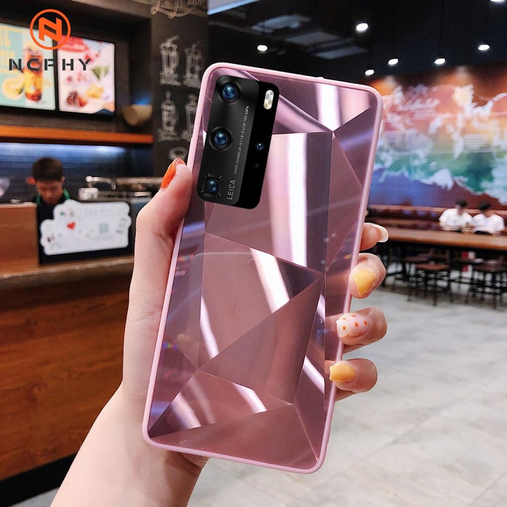 Luxo diamante arte espelho caso para samsung galaxy s8 s9 s10 s20 plus e nota 8 9 10 20 ultra capa do telefone móvel de volta escudo pára-choques