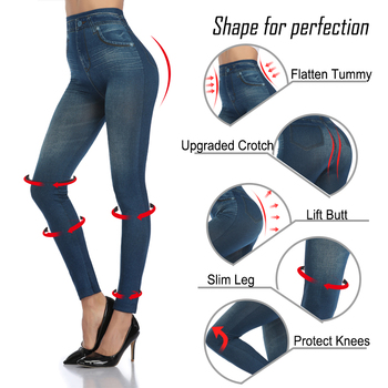 Push Up Seamless High Waist Warm Jeans Leggings Women Autumn and Winter Elastic Jeggings Denim