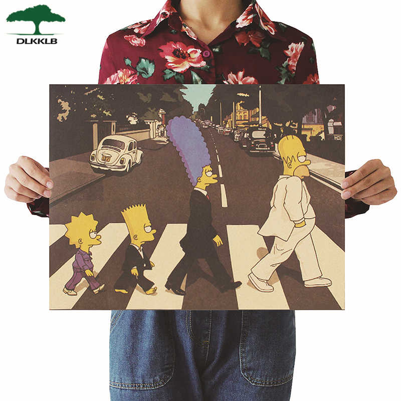 DLKKLB Classic Anime Poster The Simpsons Rock Band Style Crossing The Road Kraft Paper Bar Cafe Decor Poster Wall Sticker