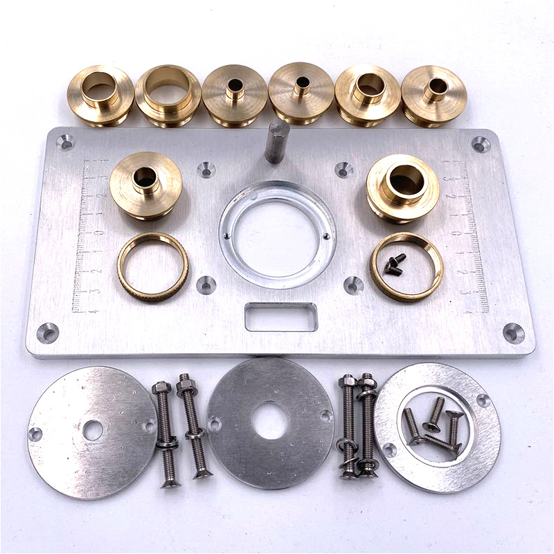 Universal Router Table Flip Plate Aluminum Router Table Insert Plate + 4 Rings Screws For Woodworking Benches