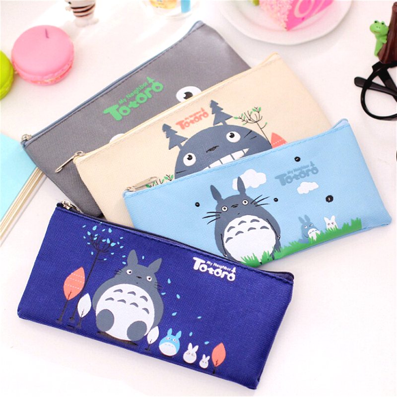 Kawaii Totoro Canvas Pencil Case Creative Oxford Cloth Zipper Student Pencil Bag Office School Supplies Stationery Cute Gift
