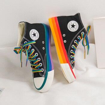 Canvas Sneakers Women Vulcanized Shoes Fashion High Top Sneakers Women Shoes Rainbow Canvas Shoes Flats Tenis Feminino 35-44