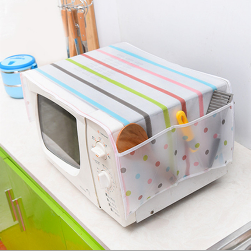 Microwave Oven Dust Cover Plastic Flower Waterproof Oil proof Dustproof Storage Bags Organizer Spoon