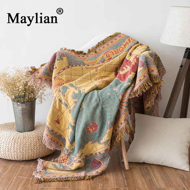 World map Bohemian Chenille Plaids Blanket Sofa Decorative Throws on Sofa/Bed large Cobertor Blanket Tassel Knitted blanket