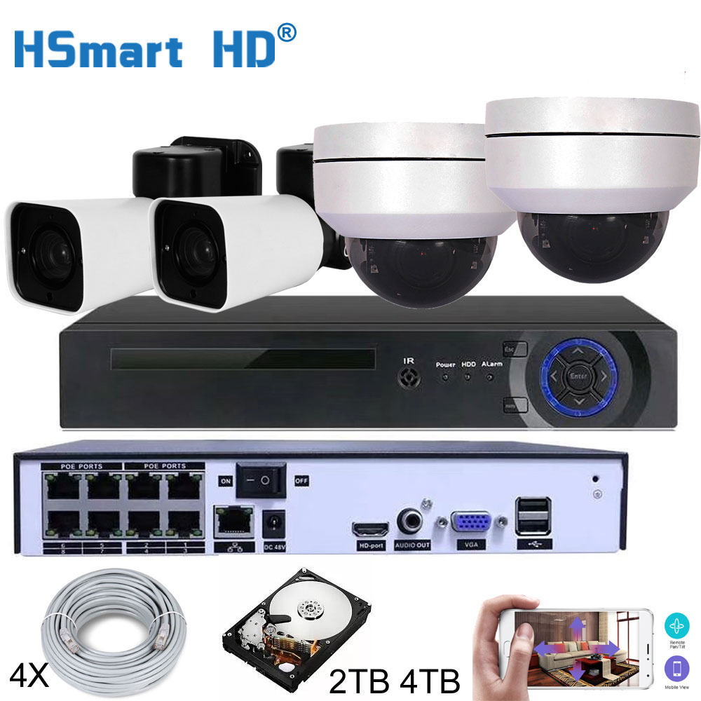 H.265 8CH 4MP POE Security Camera System Kit Audio Record IP Camera IR Outdoor Waterproof CCTV Video Surveillance NVR Set image