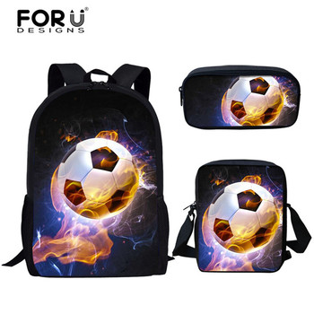 FORUDESIGNS Fire 3D Soccer-ball Fashion Design Children Backpack Casual 3pcs/Set Canvas Kids Boys Girls School Bookbags Mochila
