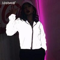 Mnealways18 серая Светоотражающая куртка в стиле хип-хоп, уличная мода, повседневное пальто с капюшоном, на молнии, 2019, осенние женские неоновые к...