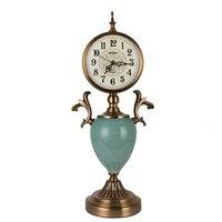 Decorative Vintage Clock Table Desk Clock European Cracked Ceramics Design Silent Bedside Desk Timekeeping Device for Bedroom