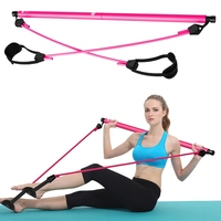 Portable Pilates Bar Kit With Resistance Band Adjustable Pilates Exercise Stick Toning Bar For Fitness Home Yoga Gym Body Build