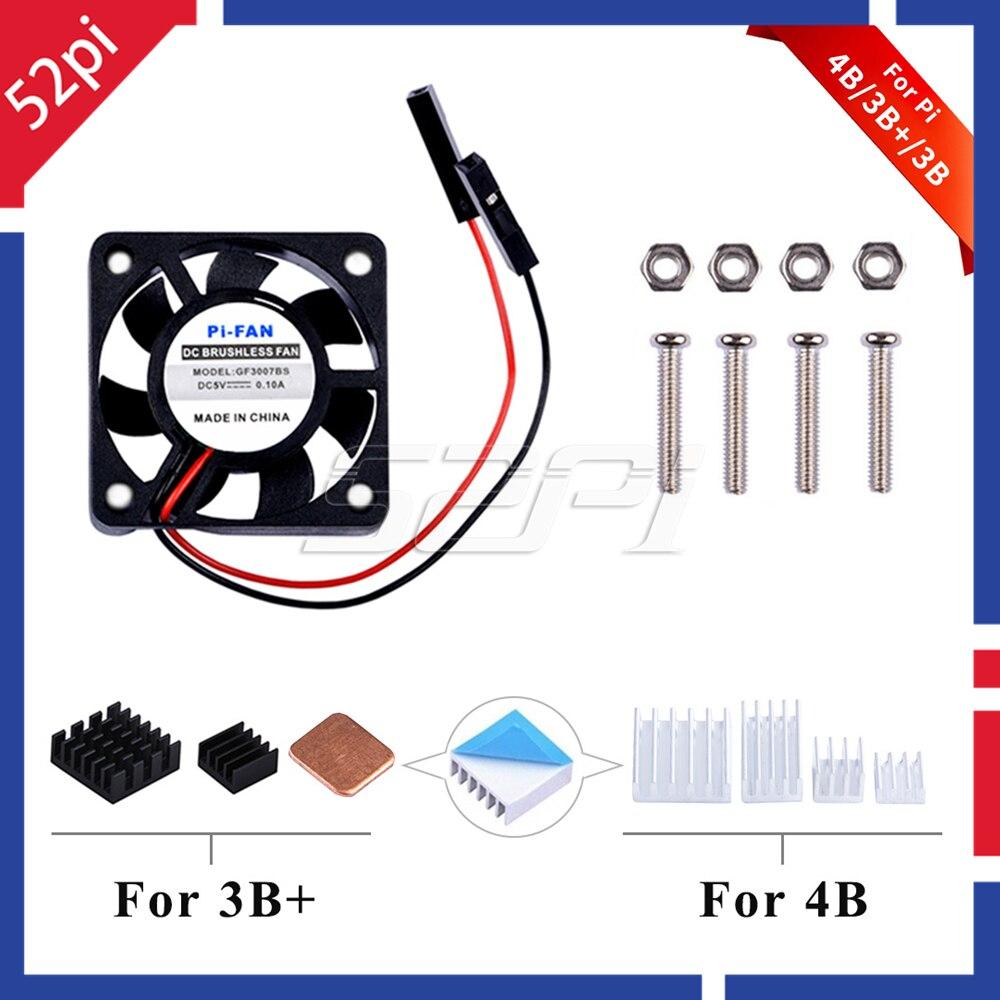 52Pi 1 Set DC 5V 30*30*7 Cooling Fan 3007 Heat Sink Kit Or 2 Set / 4 Set Pack For Raspberry Pi 4B Pi 4 Model B / 3 B + / 3